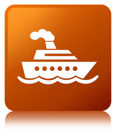Cruise ship icon isolated on brown square button reflected abstract illustration