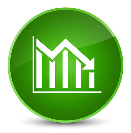 Statistics down icon isolated on elegant green round button abstract illustration Stock Photo