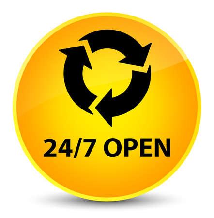 247 open isolated on elegant yellow round button abstract illustration Stock Photo