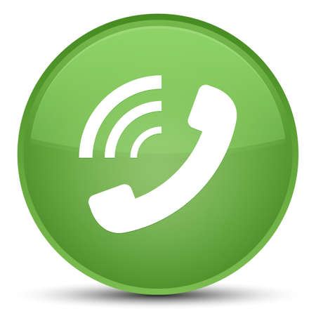 Phone ringing icon isolated on special soft green round button abstract illustration