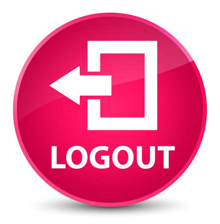 Logout isolated on elegant pink round button abstract illustration Stock Photo