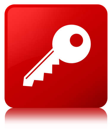 Key icon isolated on red square button reflected abstract illustration
