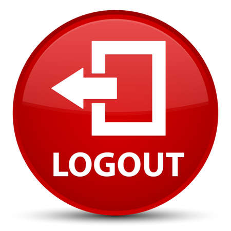 Logout isolated on special red round button abstract illustration Stock Photo