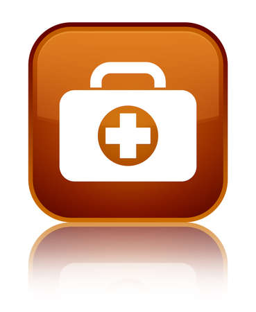 First aid kit bag icon isolated on special brown square button reflected abstract illustration Stock Photo