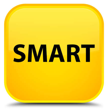 Smart isolated on special yellow square button abstract illustration