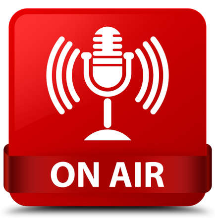 On air (mic icon) isolated on red square button with red ribbon in middle abstract illustration
