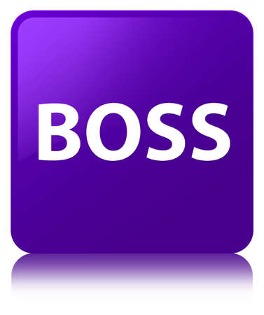 Boss isolated on purple square button reflected abstract illustration