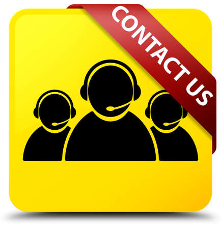 Contact us (customer care team icon) isolated on yellow square button with red ribbon in corner abstract illustration