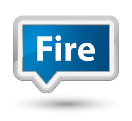 プライムの青いバナー ボタン抽象的なイラストに分離された火