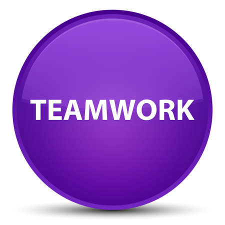 Teamwork isolated on special purple round button abstract illustration