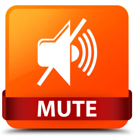 Mute isolated on orange square button with red ribbon in middle abstract illustration Stock Photo