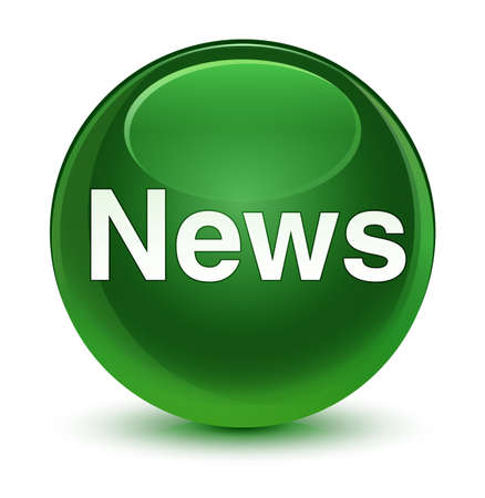 News isolated on glassy soft green round button abstract illustration