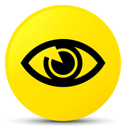 Eye icon isolated on yellow round button abstract illustration Stock Photo