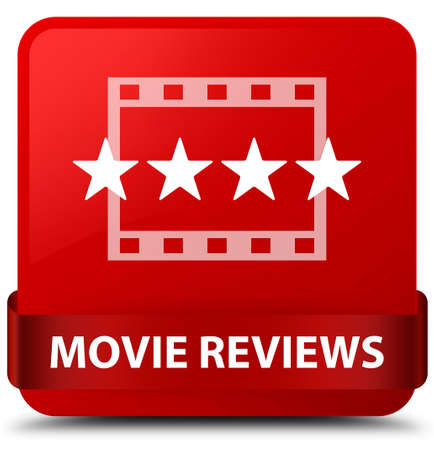Movie reviews isolated on red square button with red ribbon in middle abstract illustration