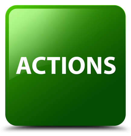 Actions isolated on green square button abstract illustration