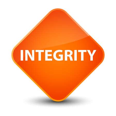 Integrity isolated on elegant orange diamond button abstract illustration