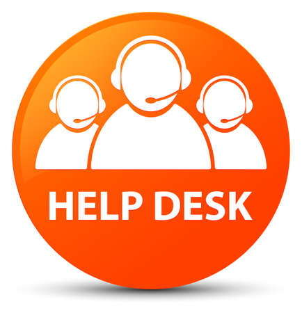 Help desk (customer care team icon) isolated on orange round button abstract illustration Stock Photo