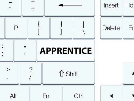Apprentice isolated on white keyboard button abstract illustration