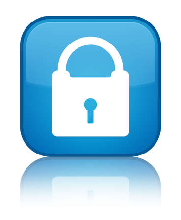 Padlock icon isolated on special cyan blue square button reflected abstract illustration Standard-Bild