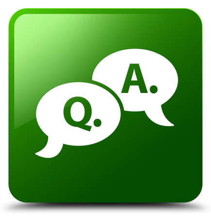 Question answer bubble icon isolated on green square button abstract illustration