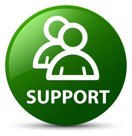Support (group icon) isolated on green round button abstract illustration