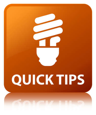 Quick tips (bulb icon) isolated on brown square button reflected abstract illustration