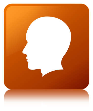 Head male face icon isolated on brown square button reflected abstract illustration