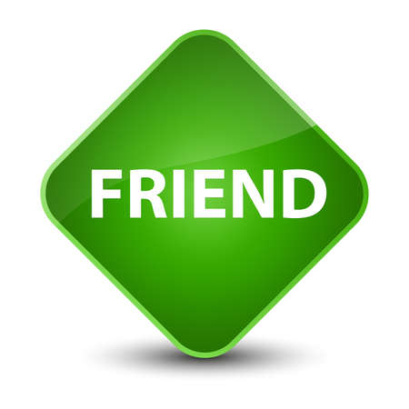 Friend isolated on elegant green diamond button abstract illustration Stock Photo