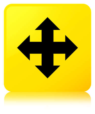 Move icon isolated on yellow square button reflected abstract illustration