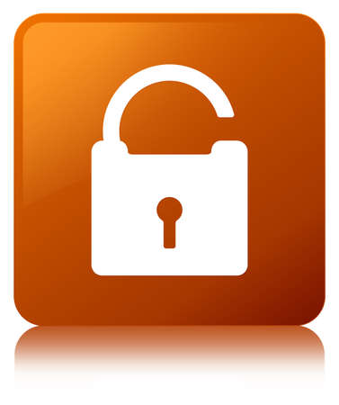 Unlock icon isolated on brown square button reflected abstract illustration Stock Photo