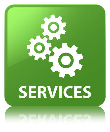 Services (gears icon) isolated on soft green square button reflected abstract illustration Stock Photo