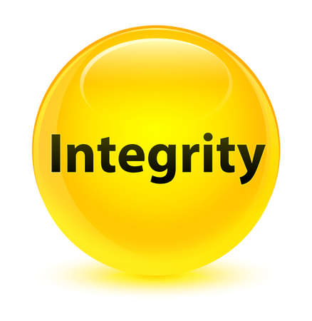 Integrity isolated on glassy yellow round button abstract illustration