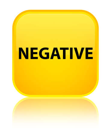 Negative isolated on special yellow square button reflected abstract illustration Stock Photo