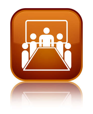 Meeting room icon isolated on special brown square button reflected abstract illustration