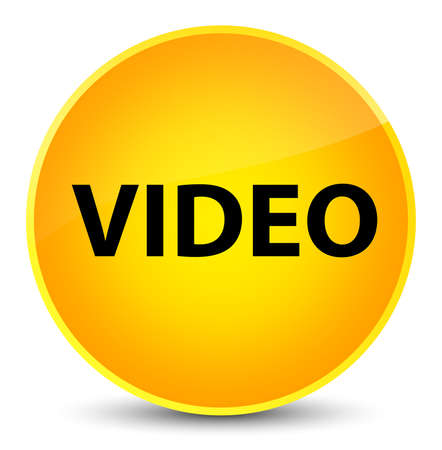 Video isolated on elegant yellow round button abstract illustration Stock Photo