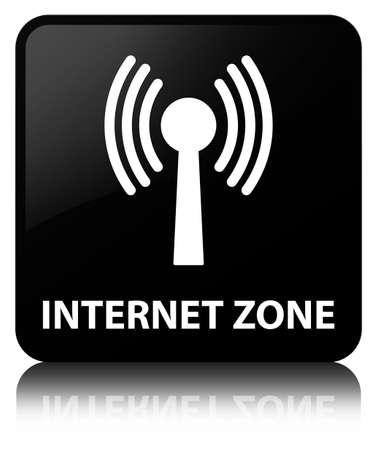 Zone Internet (réseau WLAN) isolé sur un bouton carré noir réfléchi illustration abstraite Banque d'images - 88669452