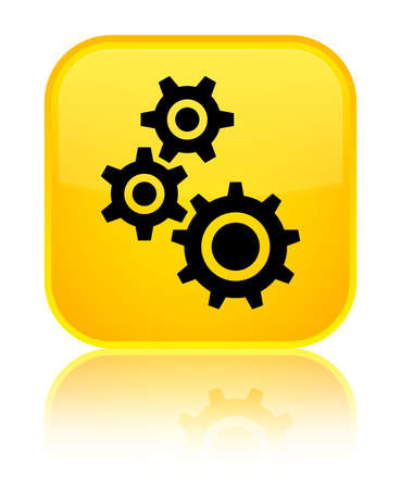 Gears icon isolated on special yellow square button reflected abstract illustration