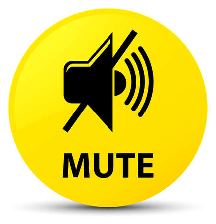 Mute isolated on yellow round button abstract illustration