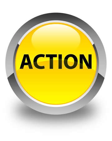 Action isolated on glossy yellow round button abstract illustration Stock Photo
