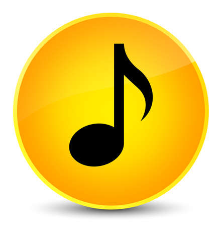 Music icon isolated on elegant yellow round button abstract illustration