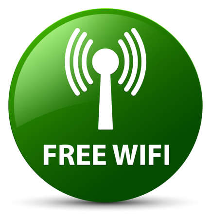 Free wifi (wlan network) isolated on green round button abstract illustration Stock Photo