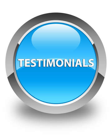 Testimonials isolated on glossy cyan blue round button abstract illustration