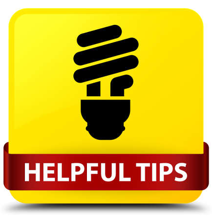 Helpful tips (bulb icon) isolated on yellow square button with red ribbon in middle abstract illustration
