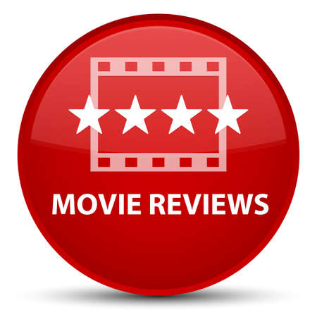 Movie reviews isolated on special red round button abstract illustration