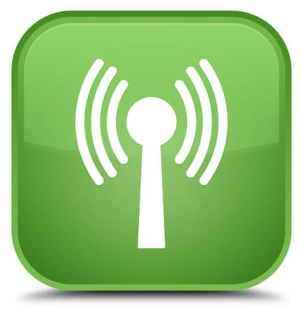 Wlan network icon isolated on special soft green square button abstract illustration