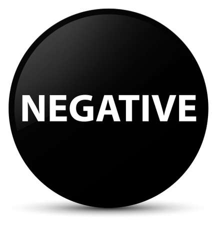 Negative isolated on black round button abstract illustration