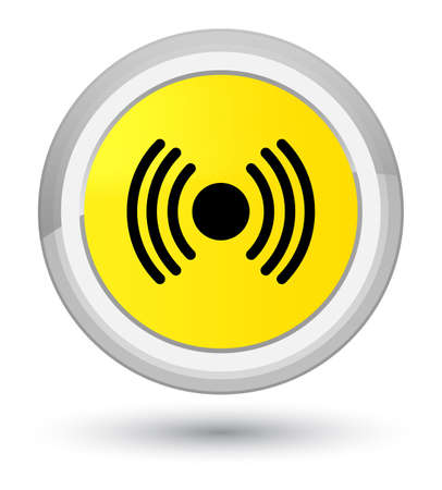 Network signal icon isolated on prime yellow round button abstract illustration Stock Photo
