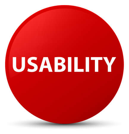 Usability isolated on red round button abstract illustration Stock Photo