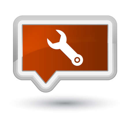 Wrench icon isolated on prime brown banner button abstract illustration