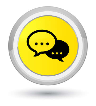 Talk bubble icon isolated on prime yellow round button abstract illustration